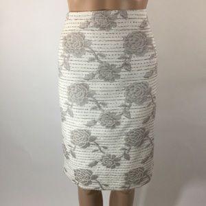 Ann Taylor Size 10 Ivory/Tan Floral Pencil Skirt